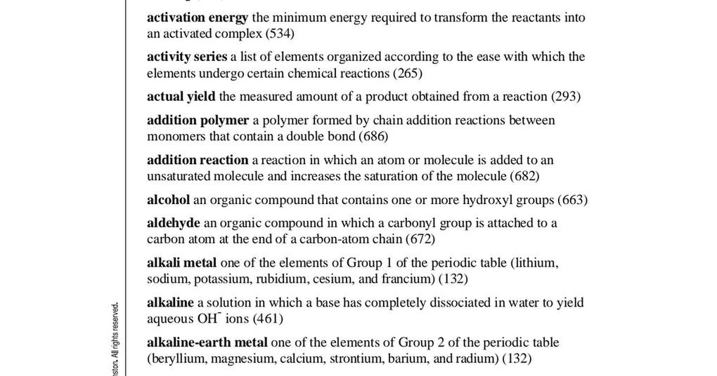 EN) (PDF) – Modern Chemistry Glossary | Holt, Rinehart & Winston