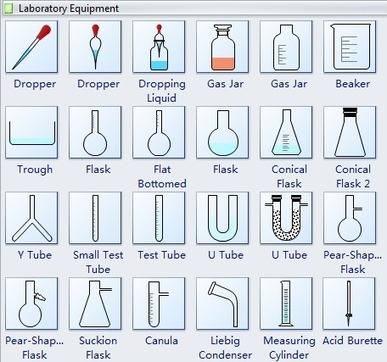 """en    chemical laboratory equipment shapes and usage   edrawsoft    """"provides a visual representation of chemical laboratory equipment shapes and their proposed use in drawing scientific laboratory diagrams"""