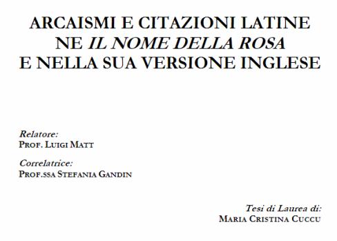 It La Arcaismi E Citazioni Latine Ne Il Nome Della